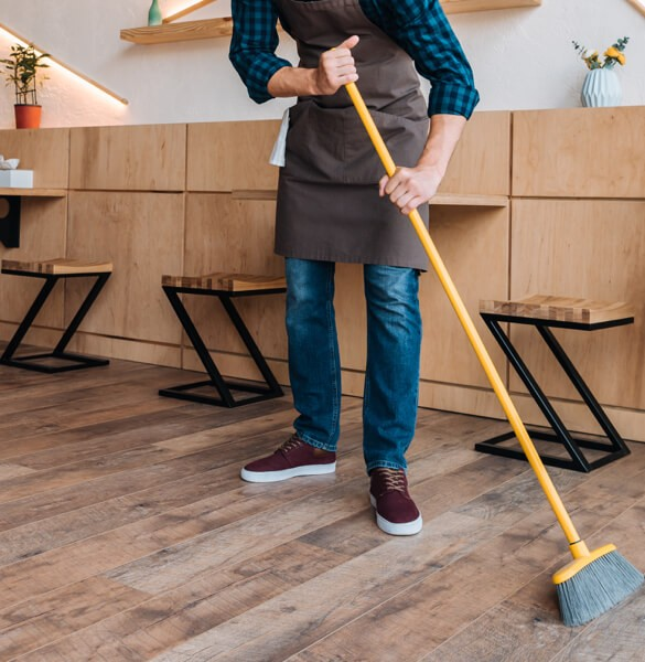 sweeping hardwood